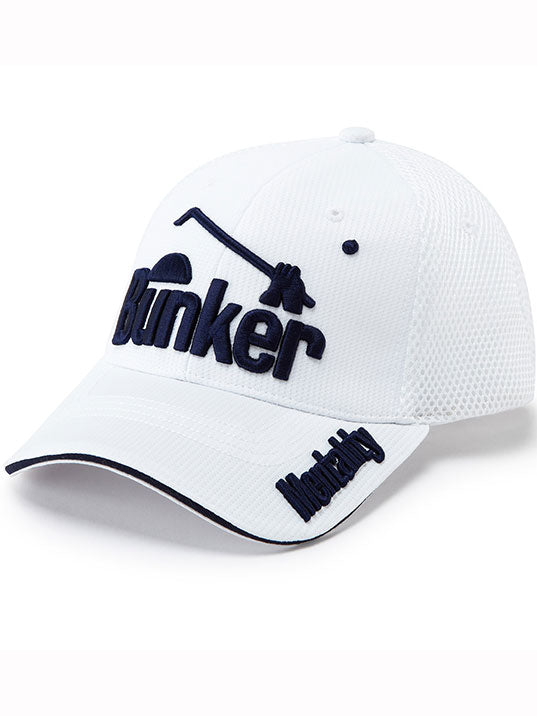 Bunker Mentality Playa Logo Cap White Dark Navy Writing Logo Front Peaked Golf Hat