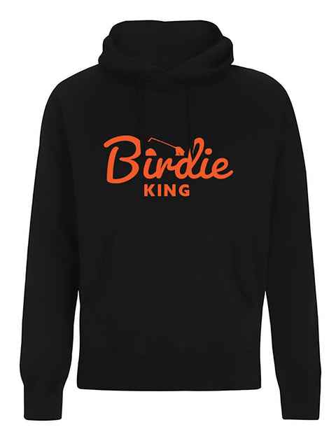 Bunker Mentality Mens Black Cotton Hoodie with Birdie King in Orange Text in the centre - Front