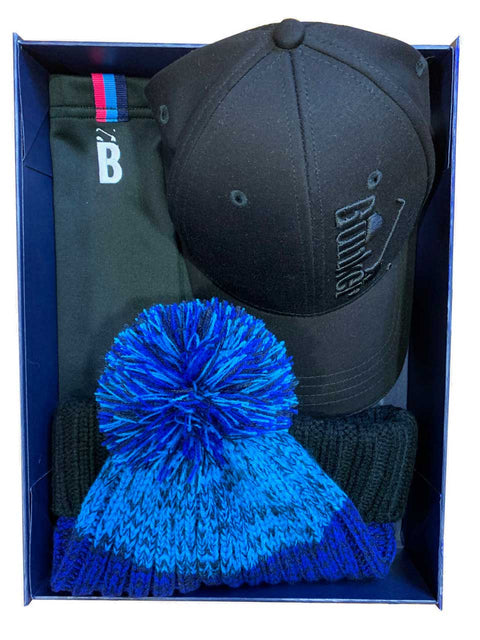 Bunker Mentality Christmas Gift Pack 3 - Blue and Black Golf Bobble Hat and Black Snood and Black Wool Cap with Tonal Logo & Navy Snood