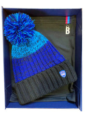 Bunker Mentality Christmas Gift Pack 1 - Black and Blue Golf Bobble Hats & Black Snood