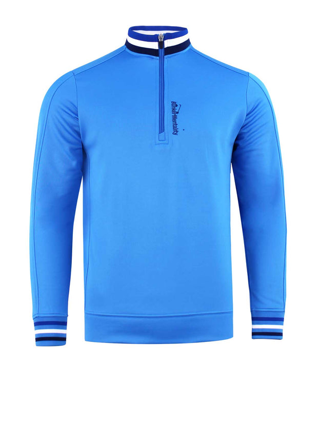 Tri Colour Quarter Zip Golf Mid Layer - Bunker Blue