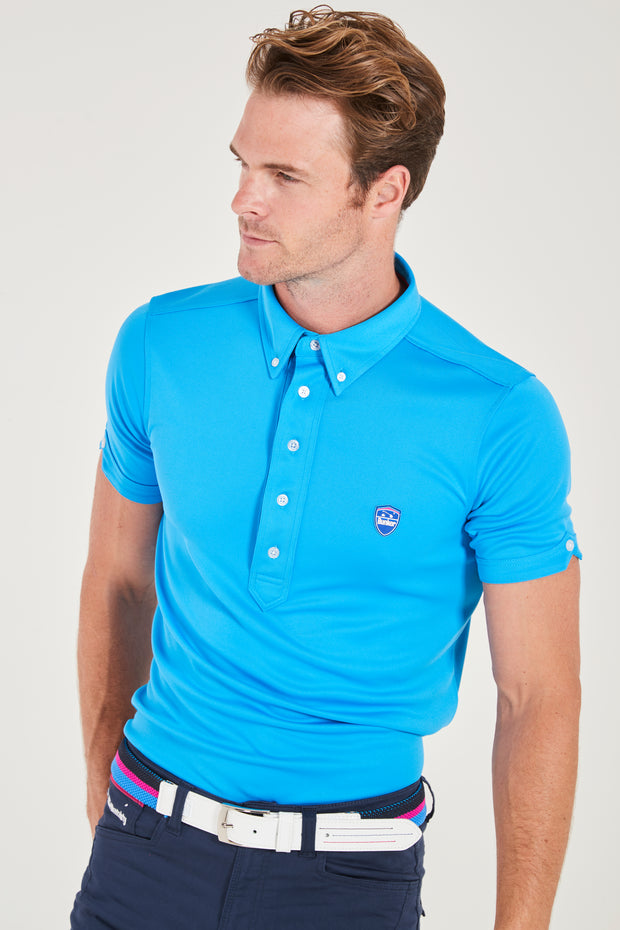 Bunker Mentality Cmax Blue Golf Shirt with Button Down Collar - Model