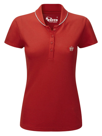 Queen of the Green Red Womens Golf Polo Shirt