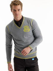 Bunker Royale V Neck Jumper (Sample) - Grey/Lime - Multiple Sizes