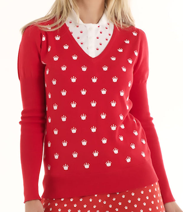 Queen of the Green Red V Neck Cotton Womens Golf Sweater with White Crowns Printed