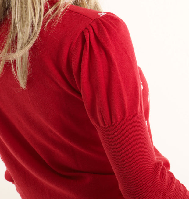 Crown V Neck Womens Sweater - Red