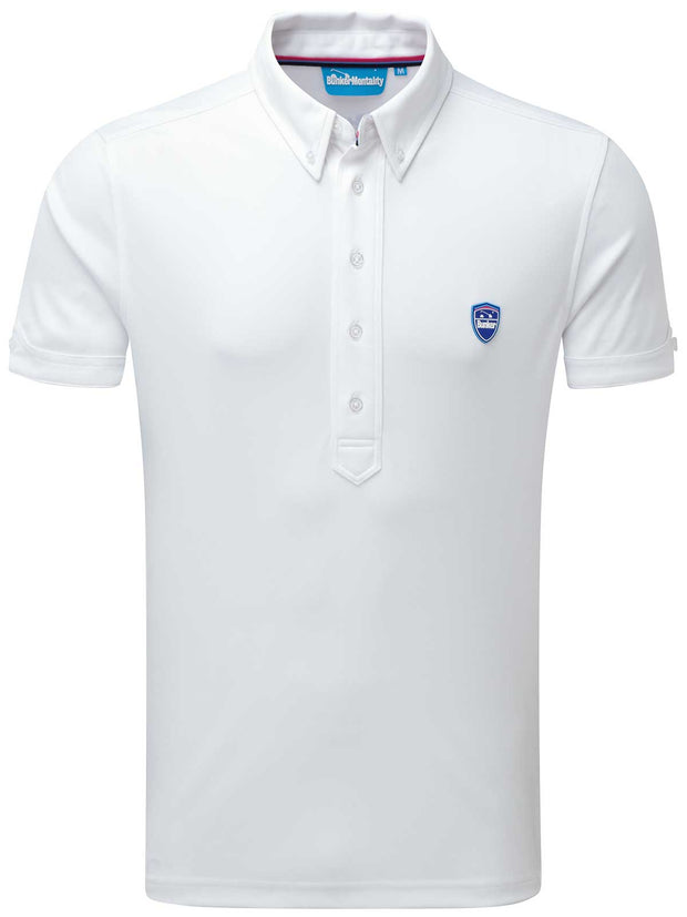 Bunker Mentality Cmax White Golf Shirt with Button Down Collar - Front