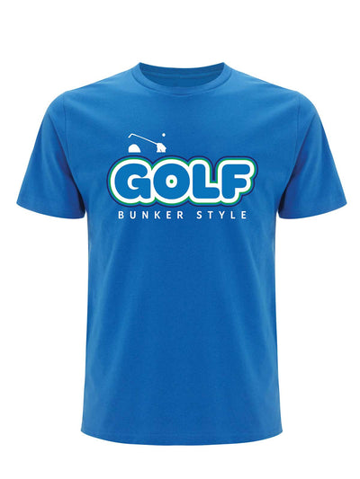 Bunker Mentality Blue Mens Cotton T Shirt with GOLF screen printed on the front