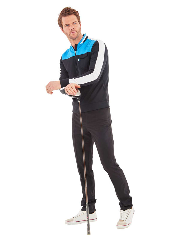 High Block Quarter Zip Golf Mid Layer - Black & Bunker Blue
