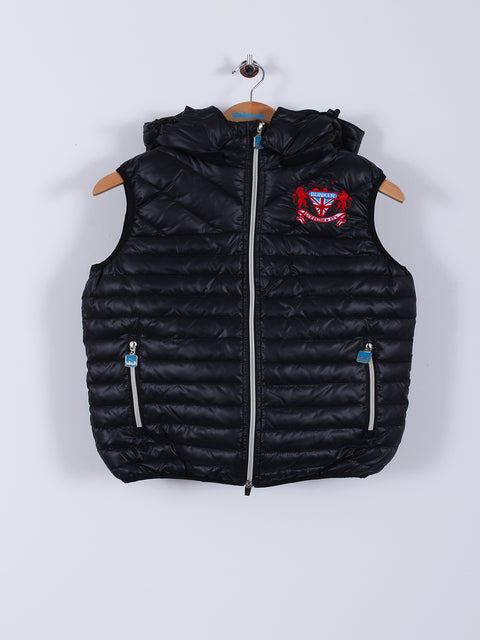 Hooded Puffer Caddy Gilet (Sample) - Black - Extra Small