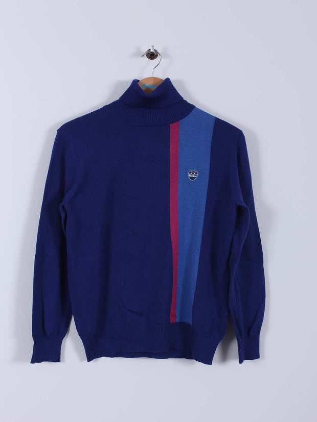 Bunker Logo Roll-Neck (Sample) - Navy/Blue/Pink - Multiple Sizes