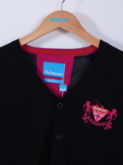 Bunker Crest Cardigan (Sample) - Black/Pink - Multiple Sizes