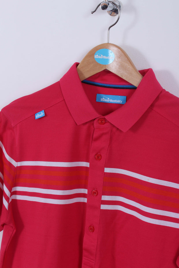 Cotton Racing Stripe Polo Shirt (Sample) - Pink - Multiple Sizes