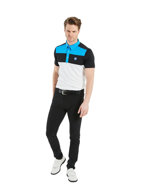 Bunker Mentality Cmax Leon Mens Golf Polo Shirt with Deep Bunker Blue and Black Panels on Top Quarter - Model Wearing Black Golf Trousers
