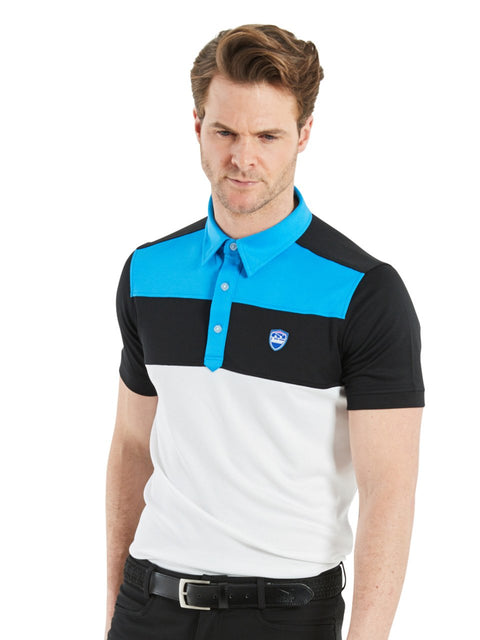 Bunker Mentality Cmax Leon Mens Golf Polo Shirt with Deep Bunker Blue and Black Panels on Top Quarter - Model