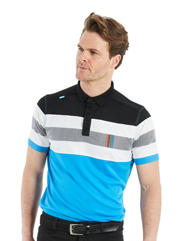 Bunker Mentality Switch Blue Stripe Mens Golf Shirt. Solid Blue Bottom half with White and Black Stripes at top - Model