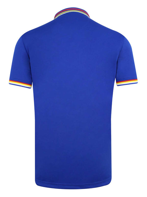 Bunker Mentality Electric Blue Mens Golf Polo Shirt with Four Pinstripe Contrast tipping on sleeves and collar - Back