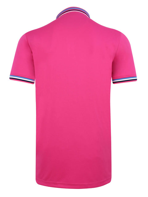Bunker Mentality Pink Mens Golf Polo Shirt with Four Pinstripe Contrast tipping on sleeves and collar - Back