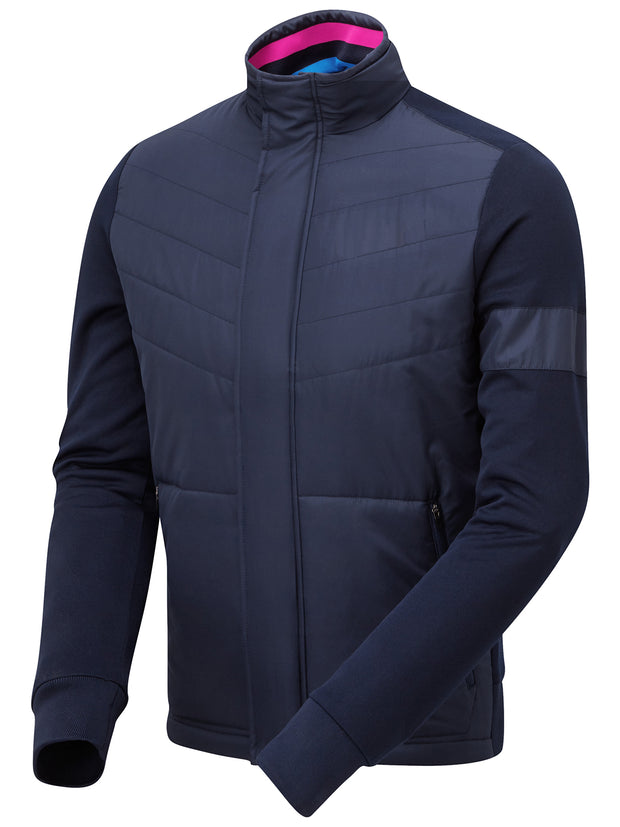 Bunker Mentality Navy Full Zip Mens Wind Proof Golf Jacket - Side View