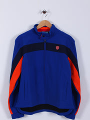 Striped Windproof Jacket (Sample) - Blue/Navy/Orange - Large