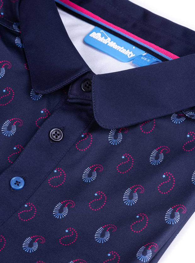 Cmax Ombre Paisley Golf Polo Shirt - Navy