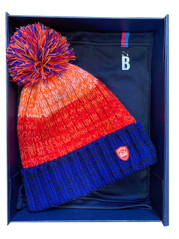 Bunker Mentality Christmas Gift Pack 2 - Blue and Orange Golf Bobble Hats & Navy Snood