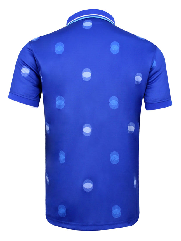 Bunker Mentality Cmax Blue Mens Golf Polo Shirt with White Overlapping Spots - Back