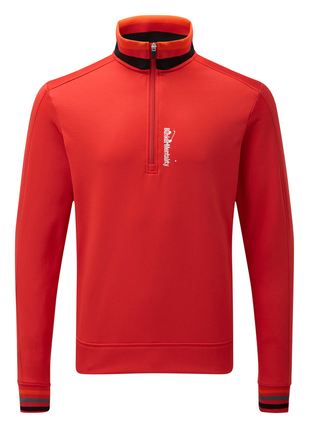 Bunker Mentality Red Quarter Zip Thermal Mens Golf Mid Layer with Tri Colour Neck and Cuffs - Front