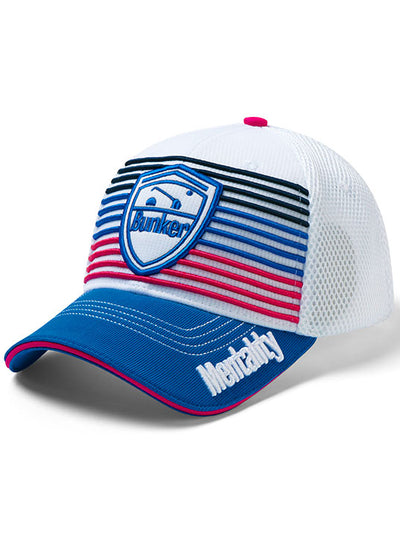 Bunker Mentality Signature Pink Navy Blue Stripe Snapback Golf Cap with Logo Badge
