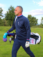 Tri Colour Quarter Zip Golf Mid Layer - Navy
