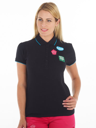 Queen of the Green Black Womens Golf Polo Shirt with Woven Badges on Left Chest - Model