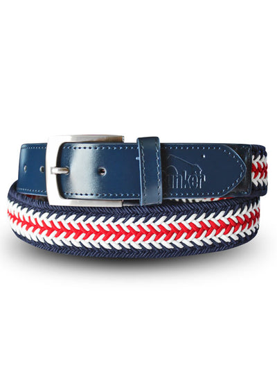 Bunker Mentality Herringbone Stretch Navy Red White Stripe Mens Golf Belt