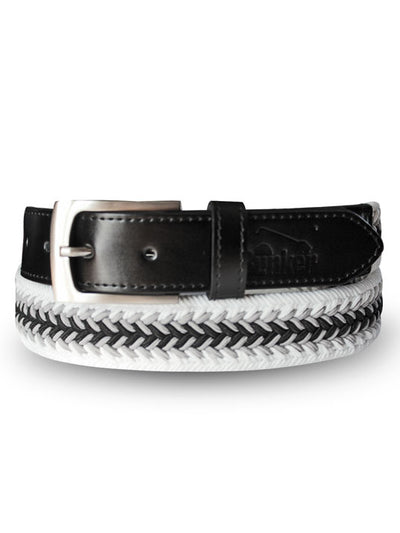 Bunker Mentality Herringbone Braided Stretch Webbing Grey White Mens Golf Belt