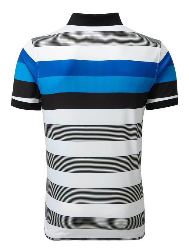 Bunker Mentality Blue and Black Bold Stripe Mens Golf Shirt with Bunker Blue Golf Shorts - Back