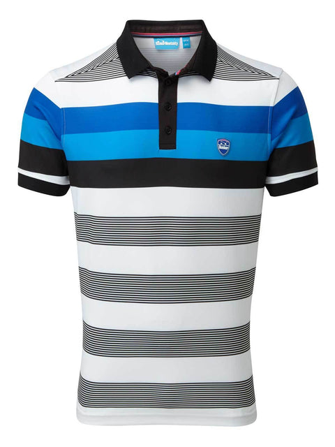 Bunker Mentality Blue and Black Bold Stripe Mens Golf Shirt - Front