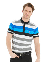 Bunker Mentality Blue and Black Bold Stripe Mens Golf Shirt - Model