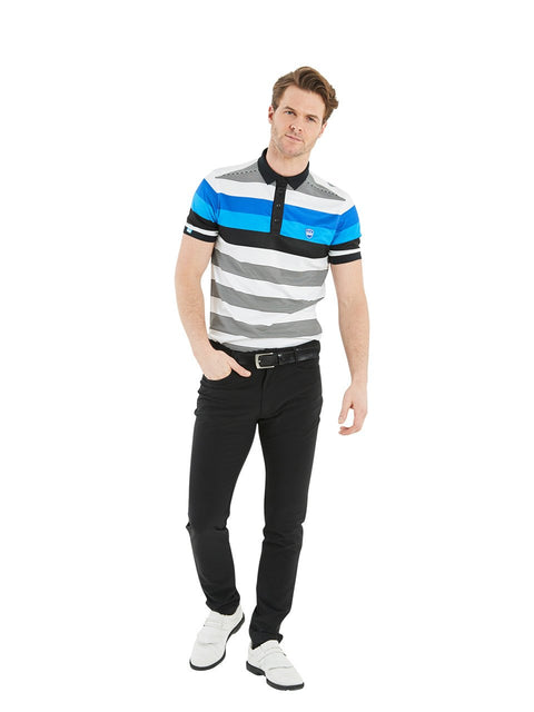 Bunker Mentality Blue and Black Bold Stripe Mens Golf Shirt - Model Wearing Black Golf Trousers