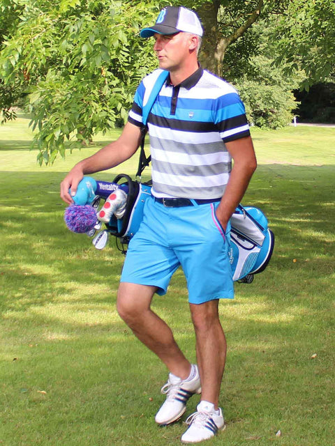 Bunker Mentality Blue and Black Bold Stripe Mens Golf Shirt with Bunker Blue Golf Shorts - On Course 1