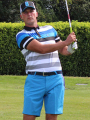 Bunker Mentality Blue and Black Bold Stripe Mens Golf Shirt with Bunker Blue Golf Shorts - On Course 2