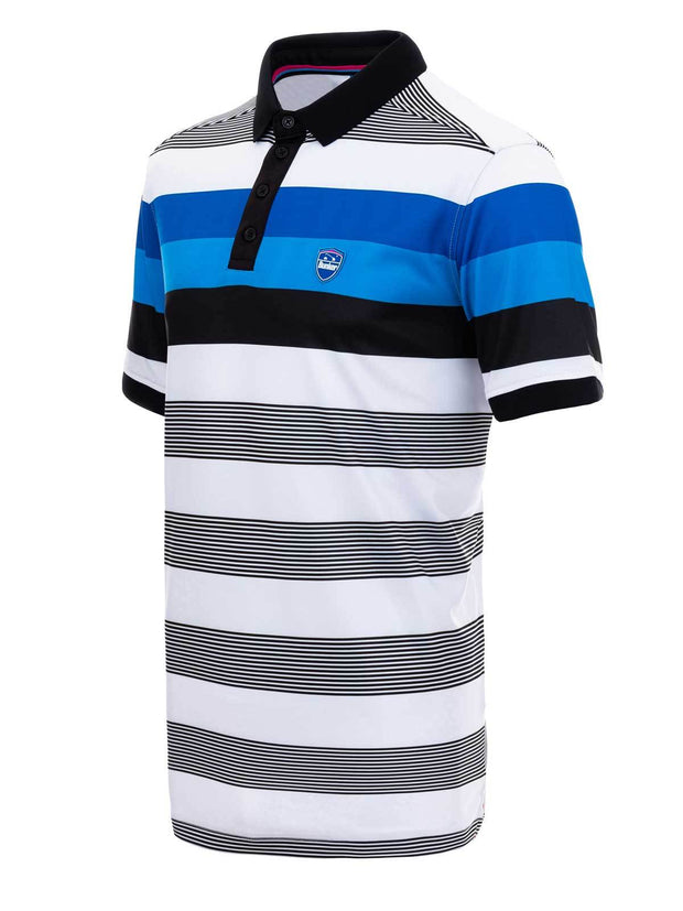 Bunker Mentality Blue and Black Bold Stripe Mens Golf Shirt - Side