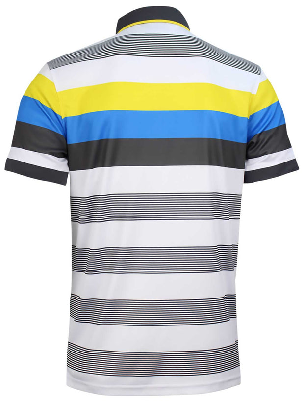 Bunker Mentality Cmax Grey Golf Shirt with Yellow and Blue Stripes - Back