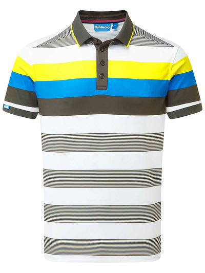 Cmax Bold Stripe Tech Golf Polo Shirt - Grey