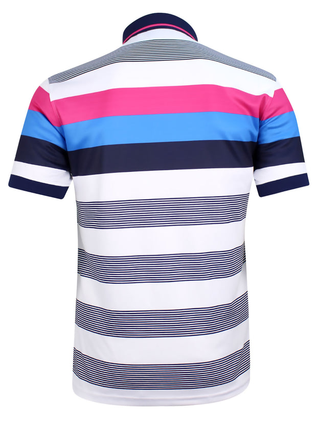 Bunker Mentality Cmax Navy Golf Shirt with Pink and Blue Stripes - Back