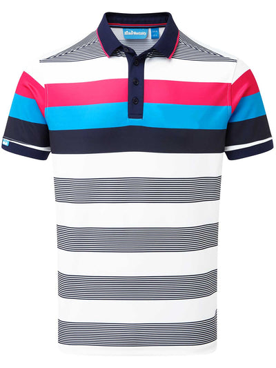 Bold Stripe Tech Golf Polo Shirt - Navy