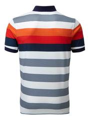 Bunker Mentality Navy and Orange Bold Stripe Mens Golf Shirt - Back