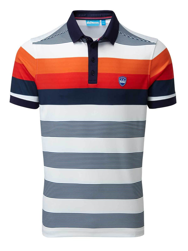 Bunker Mentality Navy and Orange Bold Stripe Mens Golf Shirt - Front