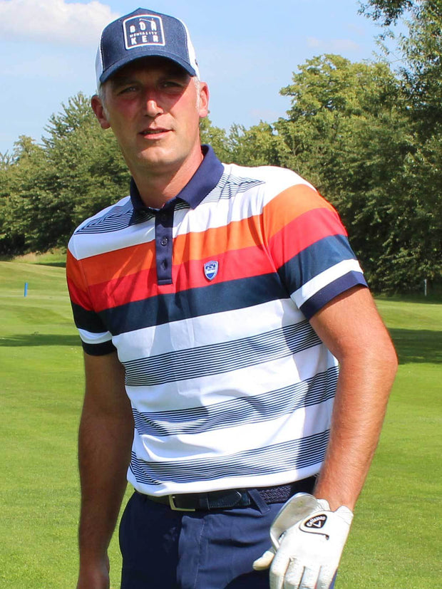 Bunker Mentality Navy and Orange Bold Stripe Mens Golf Shirt - One Course 1