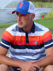 Bunker Mentality Bunker B Electric Blue Trucker Golf Cap - Worn By Model sat down on the Golf Course