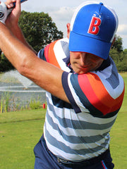 Bunker Mentality Bunker B Electric Blue Trucker Golf Cap - Worn By Model on the Golf Course