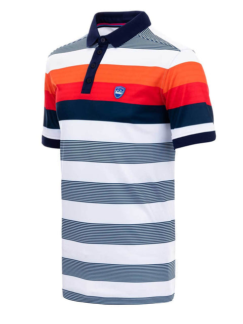 Bunker Mentality Navy and Orange Bold Stripe Mens Golf Shirt - Side
